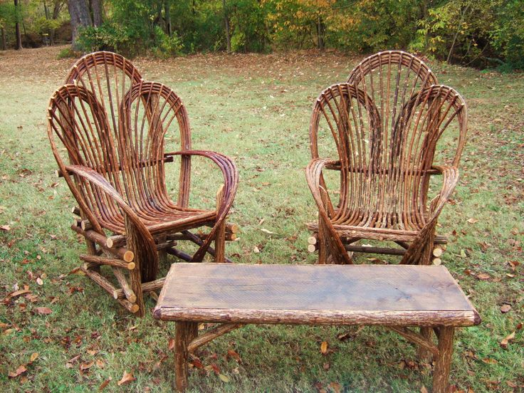Willow branch outdoor furniture set. My father made some of these years ago.