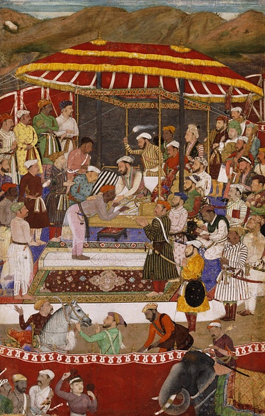 jama stripes 1618 Painting - The Maharana of Mewar submitting to Prince Khurram Style: Mughal Place: India, Pakistan