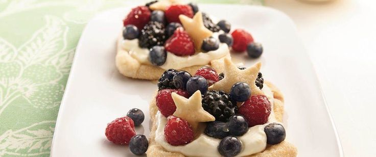 Fourth of July favorite! Red, white and blue fruit and filling plus pastry stars make it perfect for any patriotic occasion. Vary the cutout shapes for another celebration.