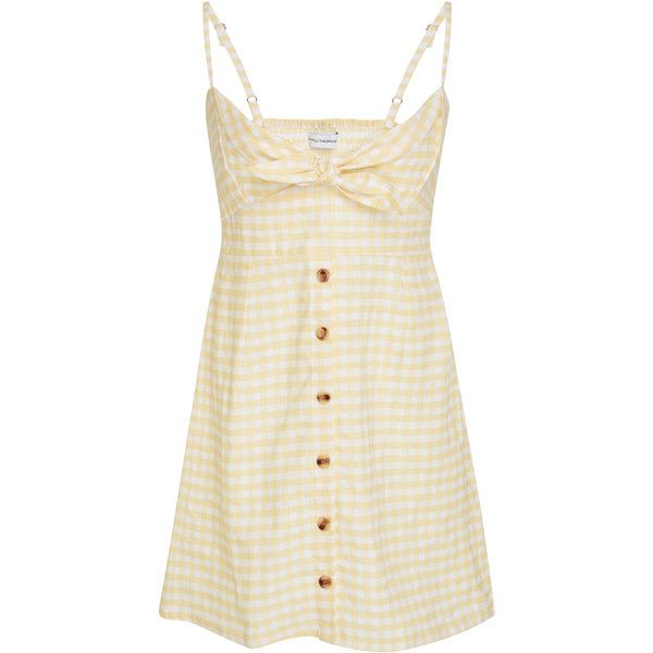 Faithfull Rodeo Mini Checkered Dress (€155) ❤ liked on Polyvore featuring dresses, yellow, checkered dress, beige short dress, tie dress, check print dress and beige dress