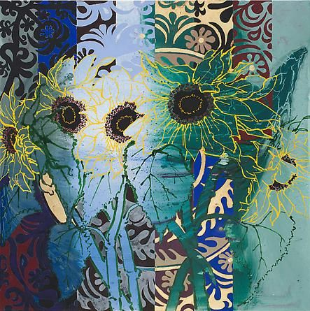 Robert Kushner - Artists - DC Moore Gallery Five Sunflowers, 2011 Oil, acrylic, and gold leaf on canvas, 60 x 60 inches