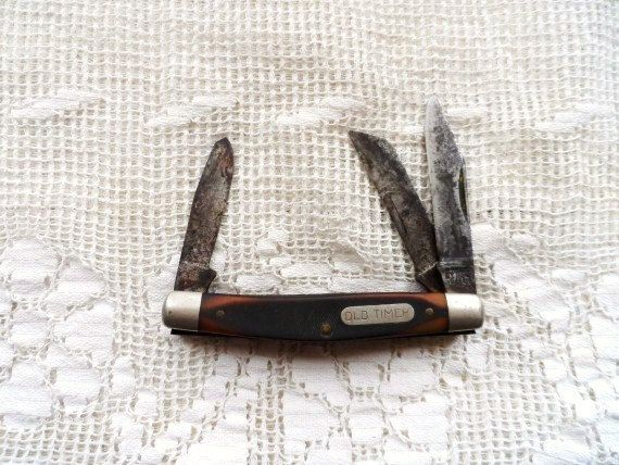 OLD TIMER Pocket Knife- Old Three Blade Pocket Knife-Folding Knife- Schrade Cutlery-Made in USA-A Knife Like Grandad's- J401-3 Blade Knife by OrphanedTreasure on Etsy