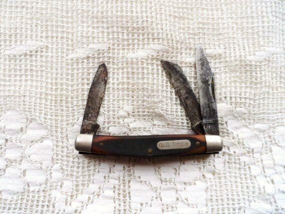 OLD TIMER Pocket Knife- Old Three Blade Pocket Knife-Folding Knife- Schrade Cutlery-Made in USA-A Knife Like Grandad's- J401-3 Blade Knife by OrphanedTreasure on Etsy
