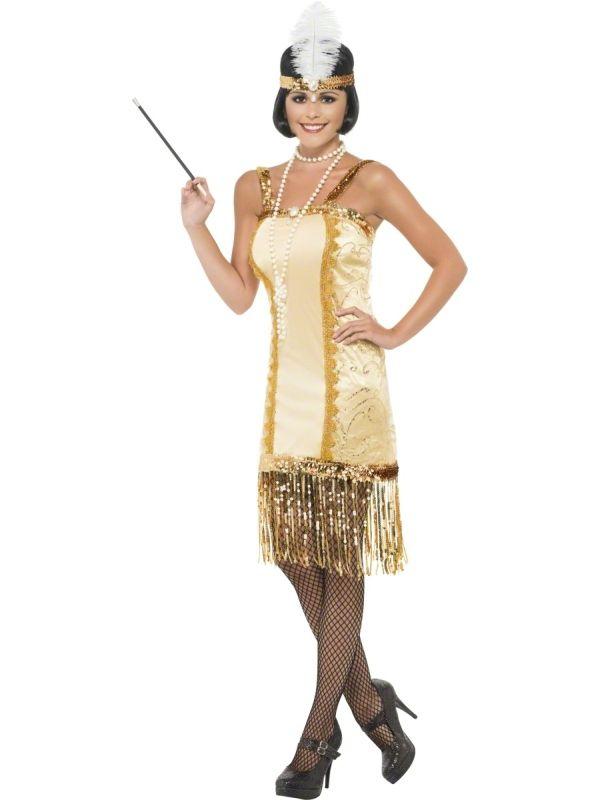 Strój Charleston Flapper w kolorze złotym. Doskonały stój na imprezę w stylu lat 20.