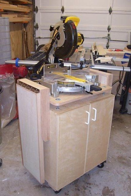 Miter Saw Mobile Cart - looks like a modified cabinet on wheels...I could do that!