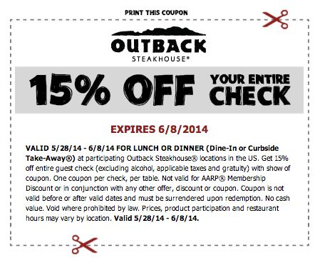 15% off Entire Check at Outback Steakhouse Through June 8th