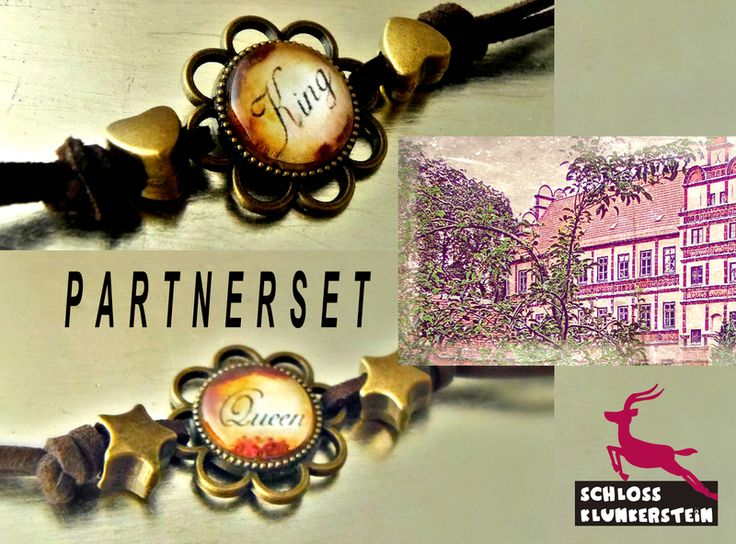 KING & QUEEN SET Partner Armbänder Glas Cabochon  von Schloss Klunkerstein - watches, handmade unique jewelry with nature elements, lockets, steampunk, shabby & vintage artefacts and art for you auf DaWanda.com