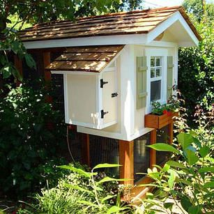 Small Coop...a little too cutsy for me but I like the idea that they designed it after a house.