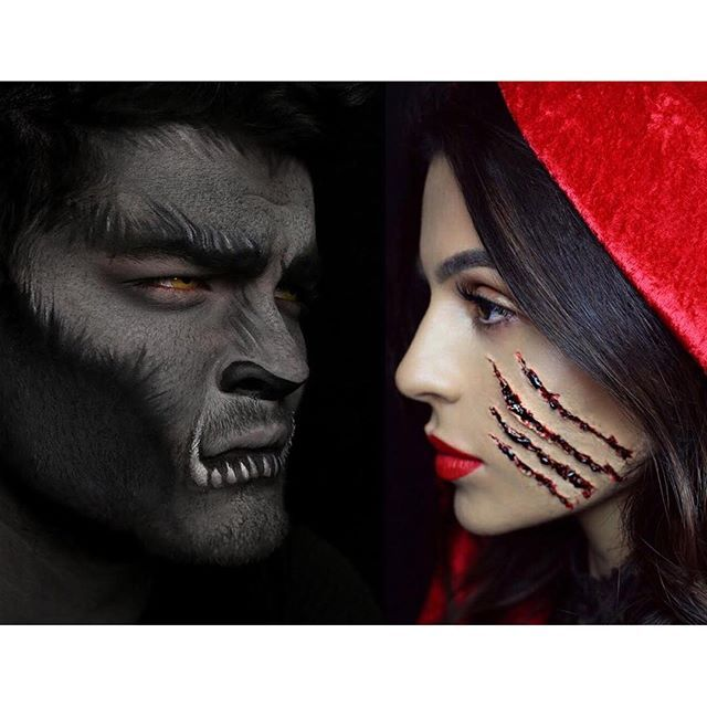 #tbt my favorite collab ever with @alexfaction last year for Halloween! jack_o_lantern Tutorials are on each of our channels if you missed them.dancerskin-tone-2wolf miss you, my handsome lobo