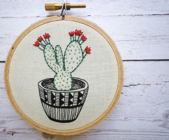 3 inch Hoop Art 'Cactus 3' Modern Embroidery by Cheese Before Bedtime
