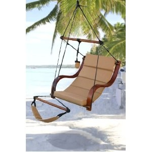 New Deluxe Ultra Padded Comfort Air Hammock Chair Hanging Lounge Chair Tan  Special Discount