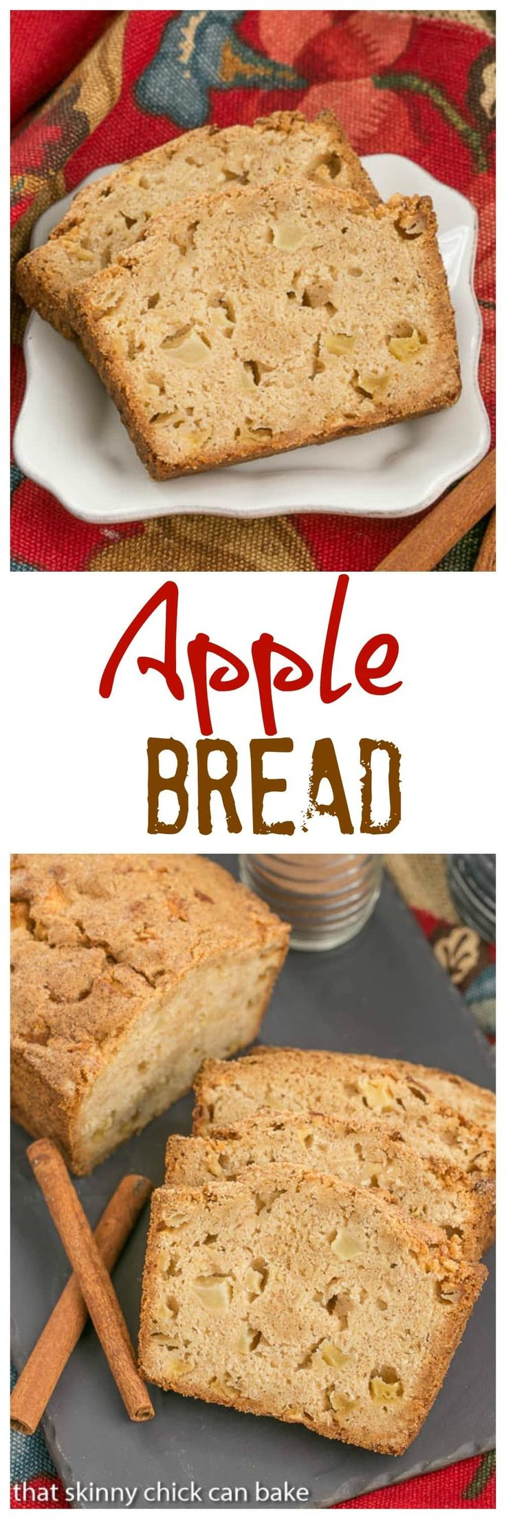 Apple Bread | This moist, cinnamon spiced apple bread is perfect for snacking, breakfast or brunch! @lizzydo