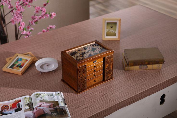 Новый деревянный коробка для ювелирных изделий ящики для хранения ретро деревянные клевер косметическая коробка с замком специальное предложение организация 34 * 23 * 25 см купить на AliExpress
