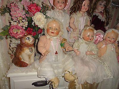 composition doll 25 antique baby doll dimples eih vintage w/antique glass bottle