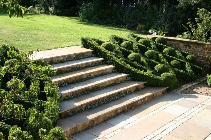 Bunny Guinness - Landscape Design .... steps and easy paechysandra instead of boxwood