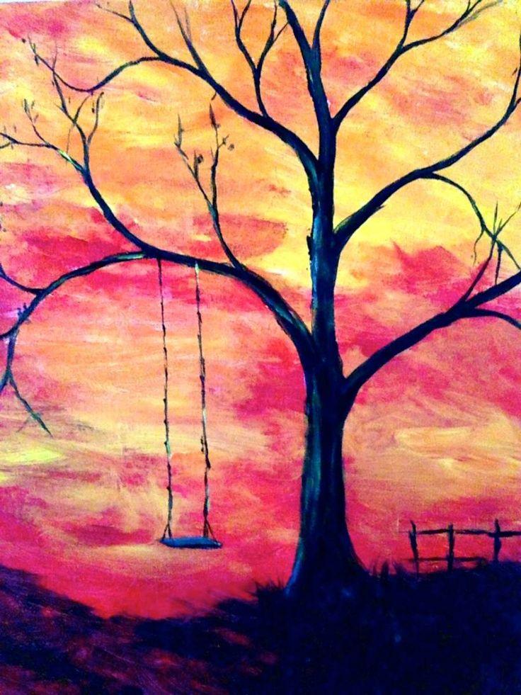 Sunset Tree Swing Beginner Painting Idea Beginner