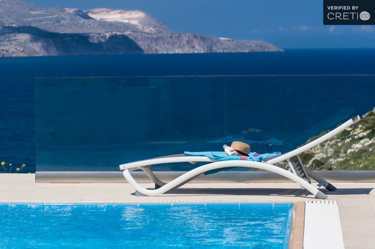 Enjoy the stunning view of the sea at your private heated pool in Stavros Akrotiri