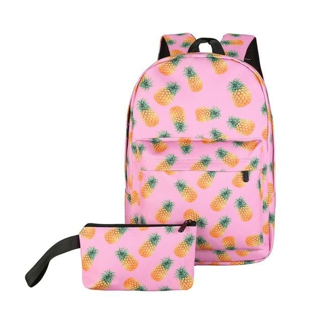 2pcs/set Nylon cartoon Printing Backpack Women Casual Travel School Backpacks for Teenage Girls Rucksack Mochila Feminina
