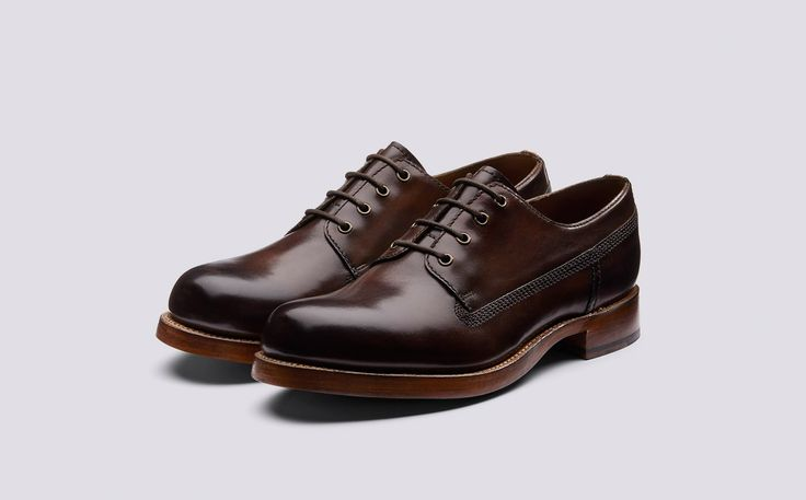 Augustin | Mens Derby in Dark Brown Hand Painted Calf Leather with a Leather Sole | Grenson Shoes - Three Quarter View