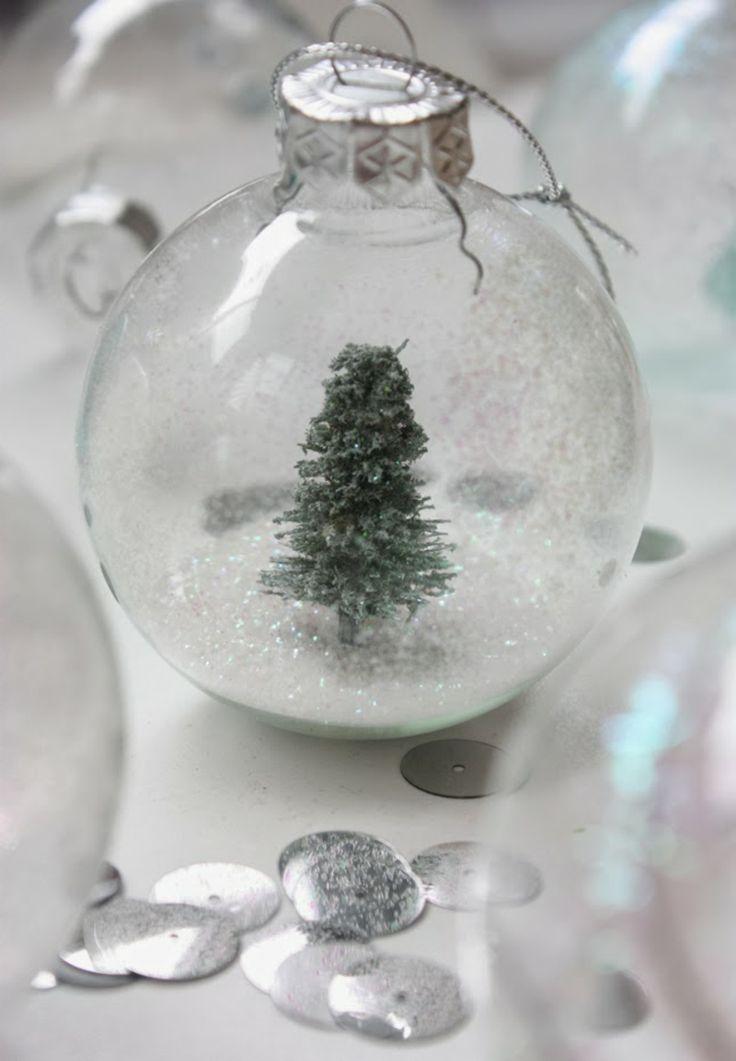 Schneekugel selber machen Tannenbaum Glas