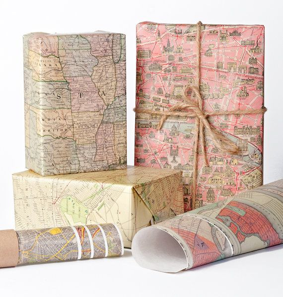 Historic Maps Wrapping Paper / 12 Sheets by NormansPrintery, $12.00