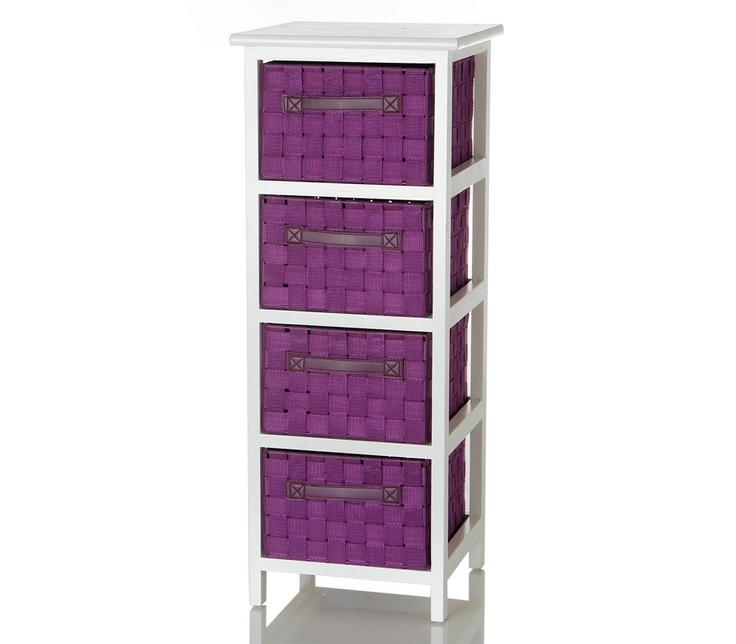 #Mueble #auxiliar con 4 cajones en color #morado y #blanco. Casa Selección.