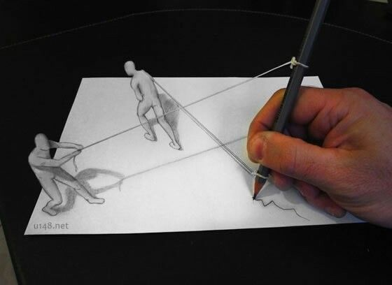 Italian artist alessandro diddi makes clever anamorphic pencil drawings that when viewed from a particular angle appear to pop out of the page in three