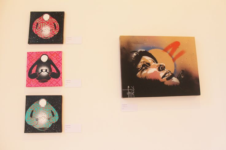 Four untitled paintings by FreakSTATIC.