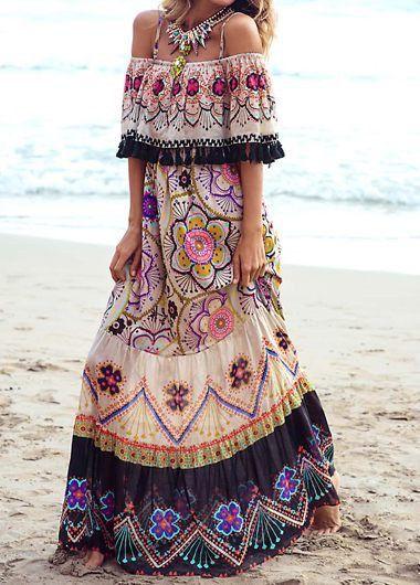 Off The Shoulder Printed Maxi Dress | modlily.com