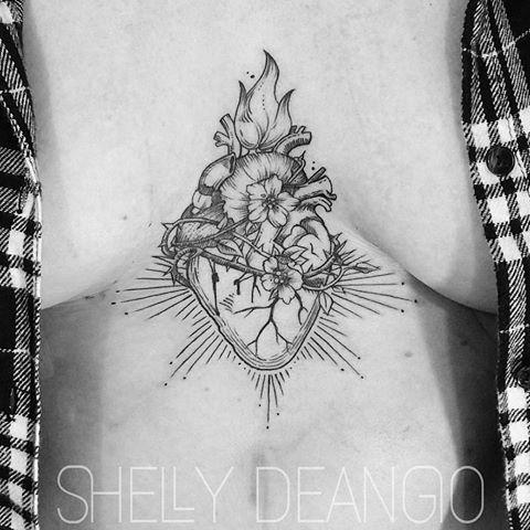 Anatomical sacred heart + flowers on the solar plexus of my friend Bridgette- a very tough lady. #tattoo #tattoos #greshamoregon #gtown #upperleftusa #pdxart #pdxartists #makemoreart #inkstagram #freshink #rethinkyourink #ladytattooers #girlswithink #sternumtattoo #sacredheart #blacktattoos #blackwork #illustration #lovemyjob