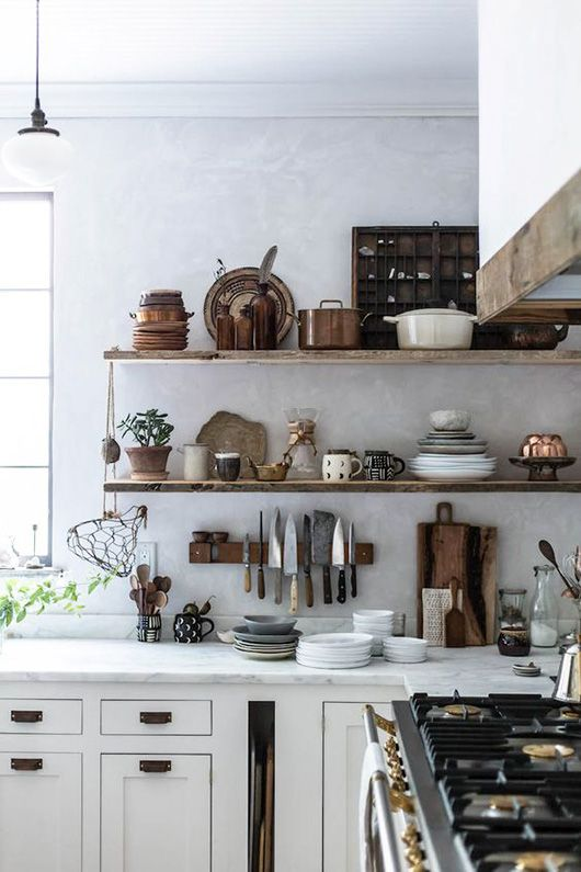 modern kitchen with long wood shelves for kitchen tools and dishware storage / sfgirlbybay