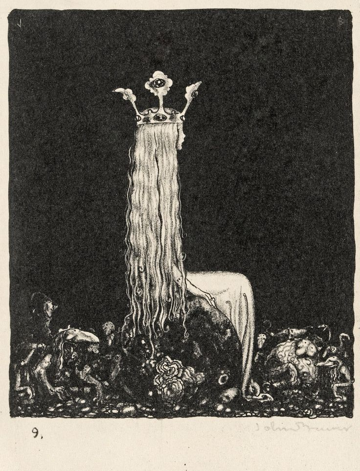 © John Bauer - Lithograph 2 (1915)-- Her hair suggests roots and her crown looks like a sprouting plant.