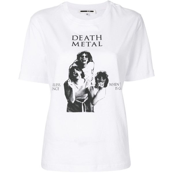 McQ Alexander McQueen death metal print T-shirt (223 CAD) ❤ liked on Polyvore featuring tops, t-shirts, white, white short sleeve top, white round neck t shirt, print t shirts, urban tees and short sleeve t shirt