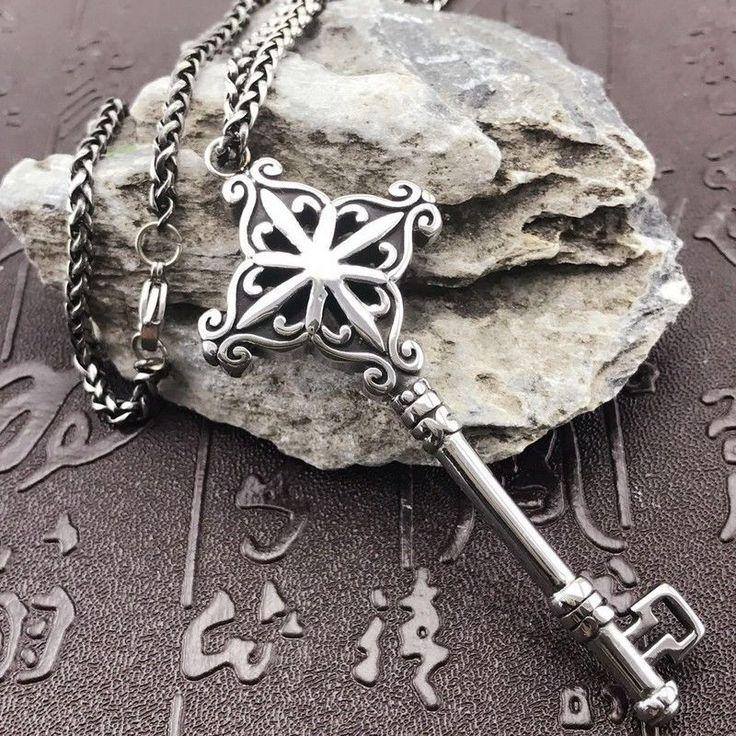 Antique Silver  Men's Silver 316L Stainless Steel Titanium Key  Pendant Necklace #as #Pendant