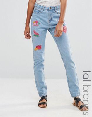 Liquor & Poker Tall   Liquor & Poker Tall Boyfriend Jeans With Badges