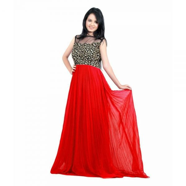 Buy Home Deal Red Color Fancy And Stylish Long Gown Online at cheap prices from Shopkio.com: India`s best online shoping site