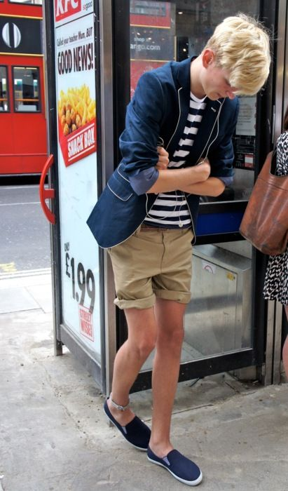 Denim Blazer, Navy & White Striped T Shirt, Khaki Shorts, and Deck Shoes. Men's Spring Summer Fashion.