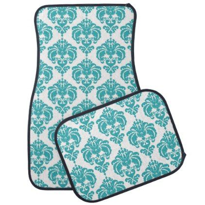 Turquoise White Damask Modern Trendy Pattern Glam Car Mat - girly gifts special unique gift idea custom