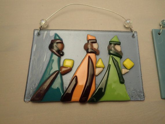 This is a great art piece that will compliment your Holiday decor and can be displayed year round. These are 4 X 6 glass plaque with a 3 dimensional image of the Three Wise Men. Each individual piece is hand cut and placed. No two plaques are the same. The are light enough that can be hang on a sturdy branch of a tree or just hanged on a wall as a year round decoration.  You can choose from four options shown on this listing. This is a great hostess, house warming, wedding, office or just…