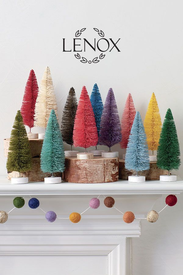 Create Colorful Mantle This Holiday Season With The Lenox Rainbow Bottle Brush Tree Bottle Brush Christmas Trees Merry Little Christmas Colorful Christmas Tree