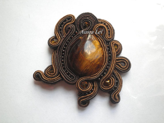 Soutache brooch by AusraTapati on Etsy,