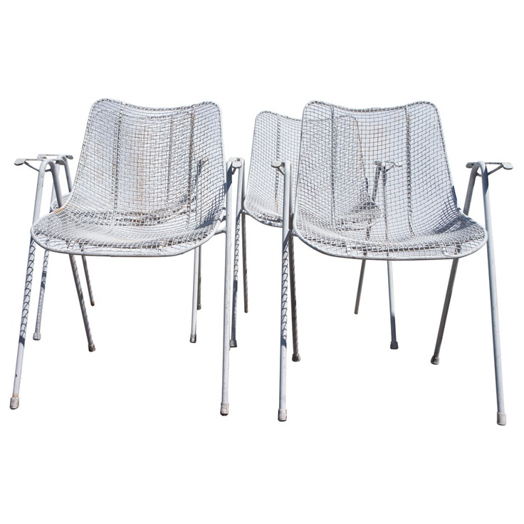 4 Metal Arm Chairs