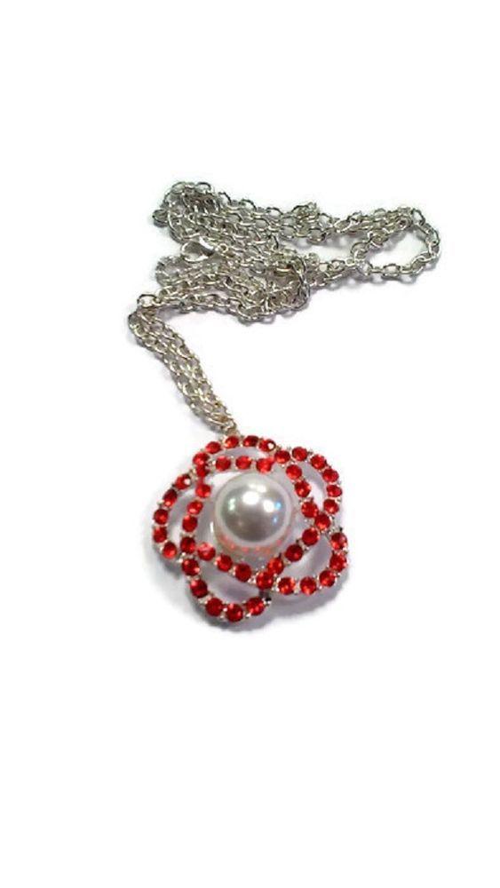 Collana donna necklace con fiore e strass Shiny Flower rosso