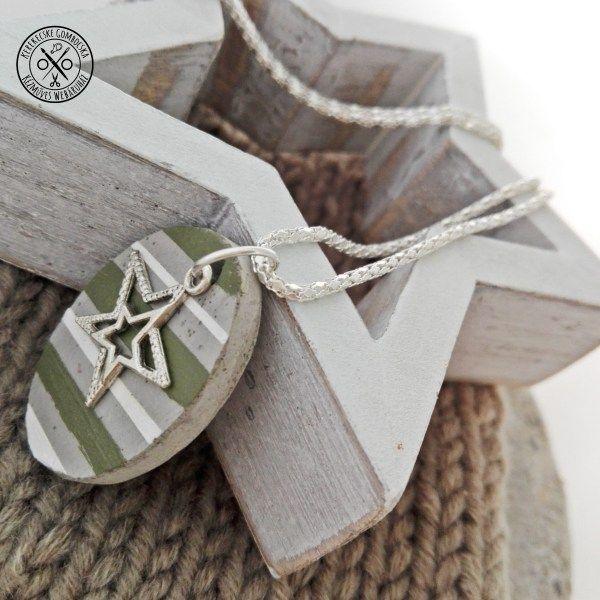 Fehér-olíva betonnyaklánc csillaggal - megvásárolható a webáruházban #betonékszer