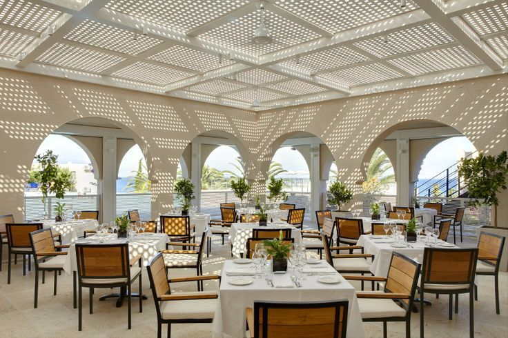 """The a la carte restaurant """"Cascade"""" by the swimming pool is a GNTO – certified traditional #Greek cuisine lunch #restaurant ready to introduce you to the #Mediterranean cuisine."""