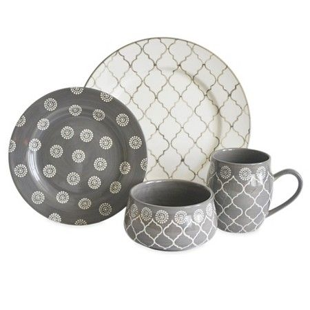 Baum Bros. 16pc Dinnerware Set - Morocco Grey : Target