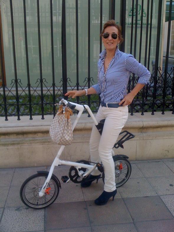 lady on unusual bike