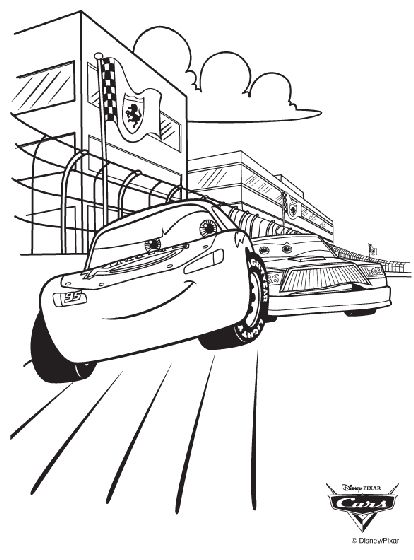 disney cars race coloring page