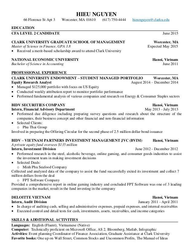 Cfa Level 1 Resume Examples In 2020 Resume Examples Sample Resume Internship Resume
