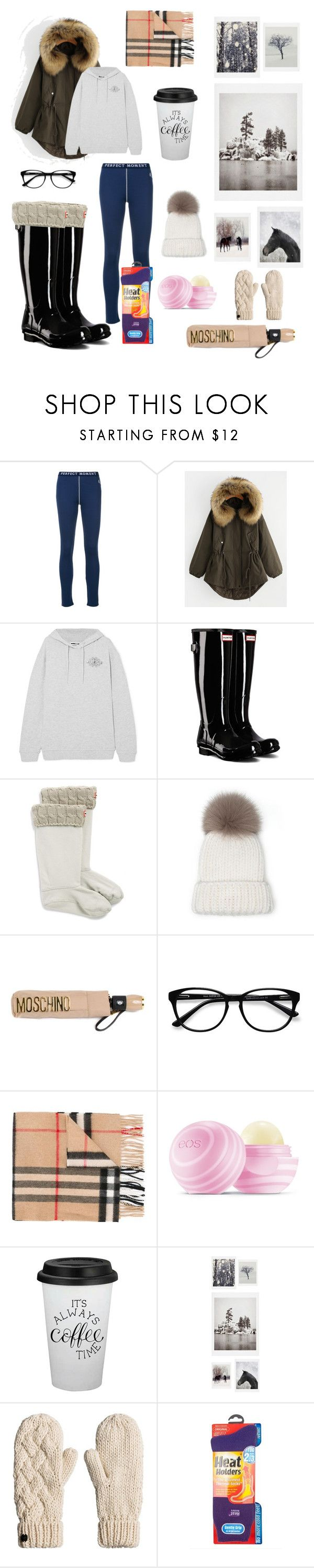 """""""Winter ❄️"""" by grapes-beth ❤ liked on Polyvore featuring Perfect Moment, McQ by Alexander McQueen, Hunter, Moschino, EyeBuyDirect.com, Burberry, Eos, DENY Designs and Grabber"""